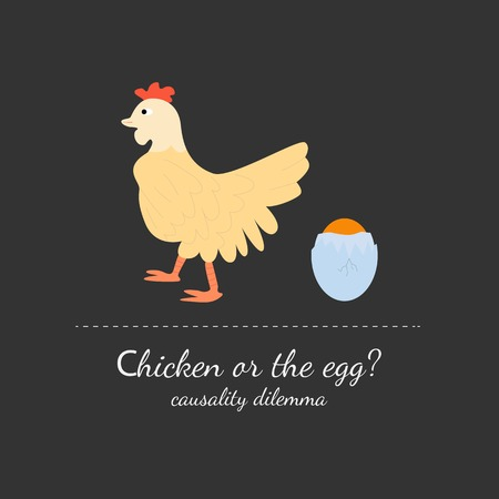 dilemma: Chicken or the egg dilemma vector illustration in flat design style. Isolated on dark (black) background.