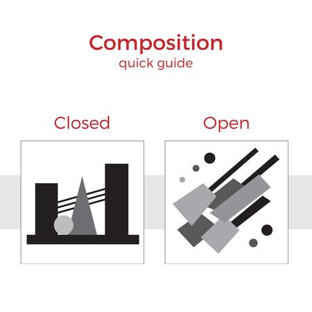 Guía rápida de composición de la ilustración del vector. Elementos simples explicación de los principios básicos en el arte. Un par de imágenes que muestran método clave. Ilustración de vector