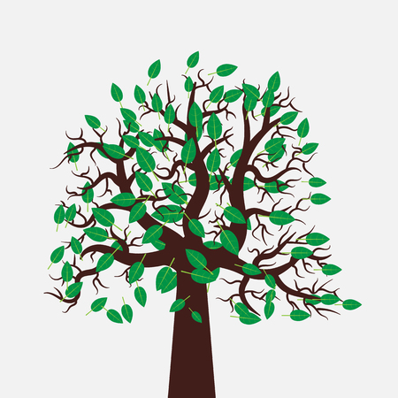 oriented: Vector tree illustration in flat design. Green leaves. Beautiful and stylish image for eco-oriented design.