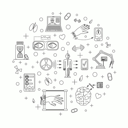 future medicine: Vector illustration of future medicine trends. Medical gadgets and technological innovations. Thin line icons set of concept art. White background. Round shape align.