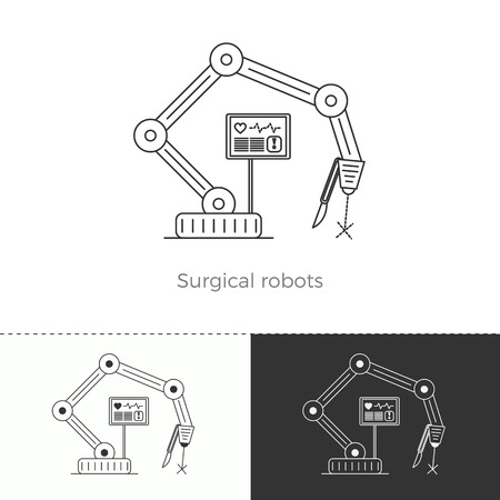 future medicine: Vector illustration of future medicine trend. Medical gadgets and technological innovations. Thin line concept icon. Surgical robots.