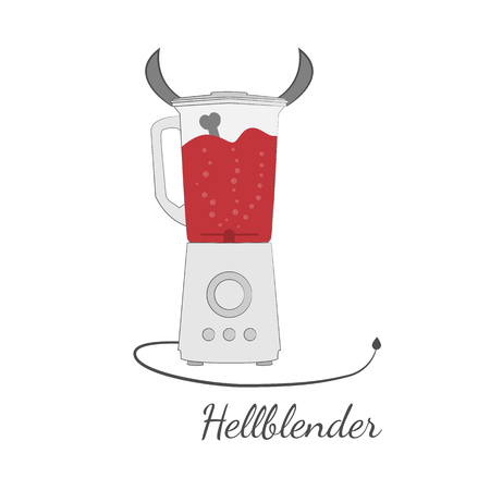 Cartoon-like vector illustration in flat design. Devil-look blender with horns and tail with blood as a liquid and bone inside.