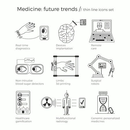 future medicine: Vector illustration of future medicine trends. Medical gadgets and technological innovations. Thin line icons set of concept art. White background, text explanations and contrast pointed fill-in elements.