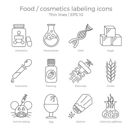 Les icônes d'étiquetage des aliments et des cosmétiques sont définis. Thin lignes illustration vectorielle des éléments de marquage des colis. Composants dangereux à éviter dans des produits naturels et naturels.