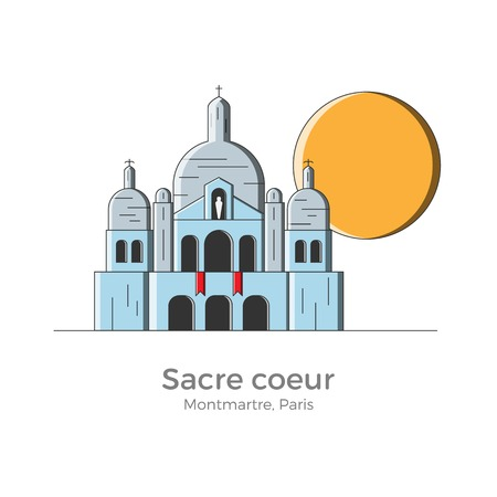 Sacre Coeur basilica vector illustration in simple flat style with thin lines. Sightseeing of Montmartre district, Paris, France. Can be used for maps and guides, touristic information. Illustration