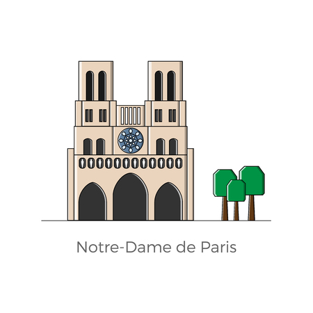 Notre-Dame de Paris vector illustration in flat and simple style with lines. Maps, cards, infographics and touristic info design element.