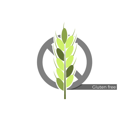 avoid: Gluten free food or drink label. Vector illustration in flat design and eco-style colors. Icon of a wheat spica, crossed by no-symbol. Dangerous allergen to avoid.