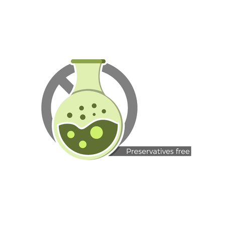 preservative: Preservatives free food or cosmetics label. Vector illustration in flat design and eco-style colors. Icon of a flask, crossed by no-symbol. Also suitable for colorants, flavorings or other chemistry.
