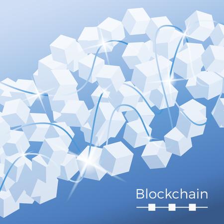 Concepto de tecnología Blockchain. Ilustración isométrica de vectores de bases de datos distribuidas para criptografía, dinero virtual, comercio electrónico seguro o seguridad web. Antecedentes de nodos cúbicos con destellos y líneas de conexión. Ilustración de vector