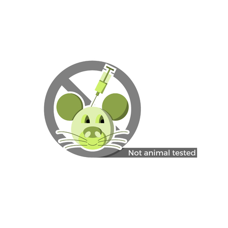 Not animal tested food or cosmetics label. Vector illustration in flat design and eco-style colors. Icon of a mouse being injected with a syringe, crossed by no-symbol.