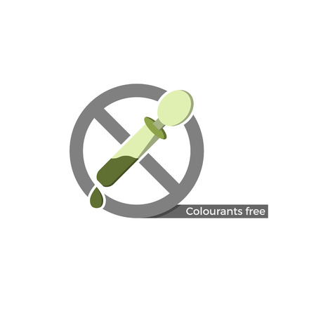 Dye free food or cosmetics label. Vector illustration in flat design and eco-style colors. Icon of a dropper, crossed by no-symbol. Also suitable for colourants, flavorings or other chemistry.