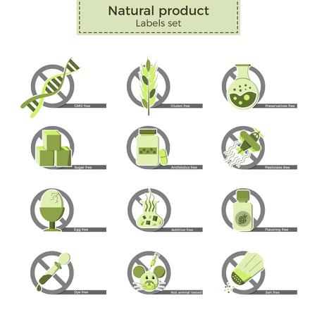 """천연 제품 벡터 레이블 집합입니다. 음식, 음료 및 화장품에서 피할 수있는 위험한 성분 또는 알레르겐. 평면 디자인과 에코 스타일 색상을 상징하는 """"아니오""""로 표시된 아이콘."""