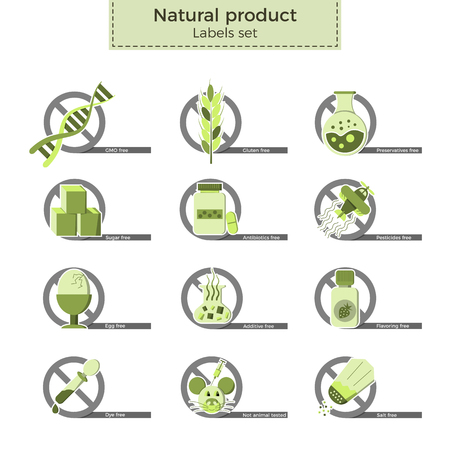 Natural product vector labels set. Dangerous ingredients or allergens to avoid in food, drinks and cosmetics. Icons crossed by no-sign in flat design and eco-style colors. Illustration