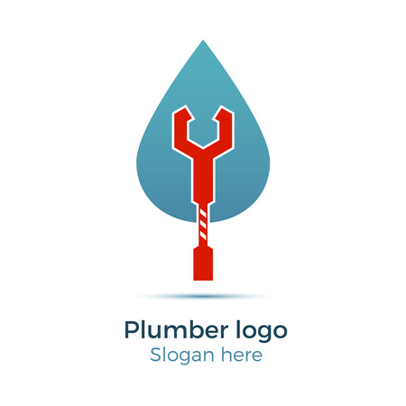 plumb: Plumbing company logo vector concept. Illustration for plumbers business. Simple and stylish logotype - water drop with wrench.