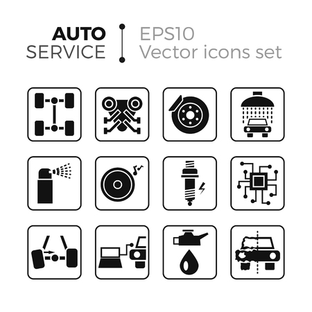 Car service flat icons set. Isolated on white background. Typical autoservice pictograms. Icons and signs for business.