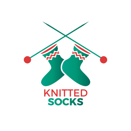 Illustration of woolen socks on a knitten needles. Knitted wear shop, atelier or garment logo. Vector colorful flat logotype isolated on white.