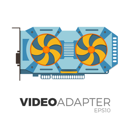 Vector illustration of video graphics card (video adapter). Flat, realistic design. Illustration of computer equipment for cryptocurrency (bitcoin) mining. Detailed and isolated on white background. Illustration