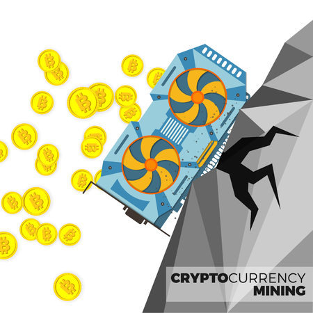 gpu: Video graphics card producing cryptocurrency coins vector concept. Bitcoin mining with GPU illustration. Realistic style, isolated on white background.