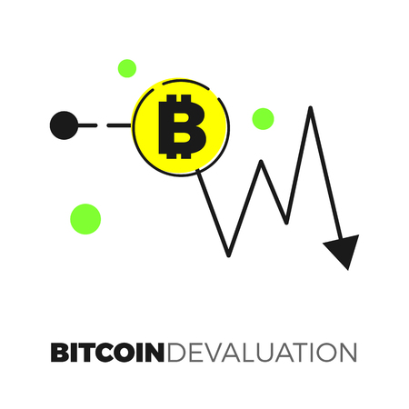 descending: Going down graph with ditcoin sign. Descending cryptocurrency exhange rate. Flat design isolated on white background. Negative trend for virtual currency illustration concept.