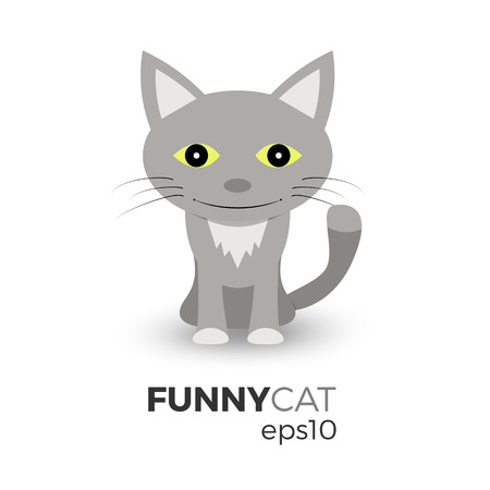 whisker characters: Funny cat vector illustration in flat design. Isolated on white background. Cartoon, geometric graphic style. Sitting kitten with a smile.