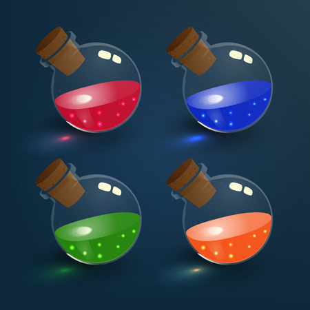 mana: Bottles of mana, poison, vitality, dextrity magic elixirs. Vector illustration of tranparent flasks set with colorful liquids. Game vial icons, interface for rpg game. Easy to change color. Realistic. Illustration