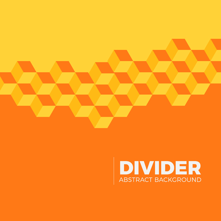 Abstract modern geometric orange background illustration. Isometric cubes divide plane into two segments for text blocks.