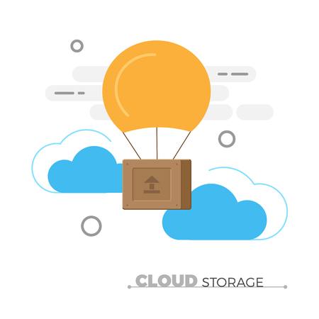 Cloud storage vector concept. Flat design illustration of wooden box, flying in clouds with balloon.