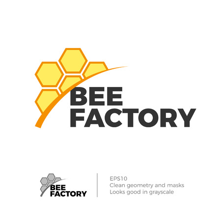 Honeycomb vector icon concept. Bee honey farm business icon template. Illustration in dynamic shapes, isolated on white background. Illustration