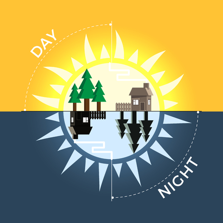 Day and night vector concept. Sky divided in halves with sun and moon. Illustration of time, daylight cycle. Flat design, isolated, good for motion design.