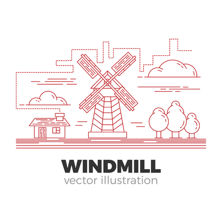 Countryside windmill in farmland illustration. Isolated elements in linear style, editable vector. Mill, house, clouds and trees in unified composition.