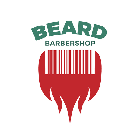 Barbershop or grooming goods shop logo template. Vector illustration of beard combined with barcode. Isolated on white background.