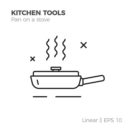 Pan on a stove vector linear icon. Flat style illustration of kitchen tools. Isolated on white. Vector Illustratie