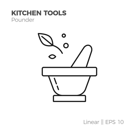 Cooking ponder and spices vector linear icon. Flat style illustration of kitchen tools. Isolated on white.
