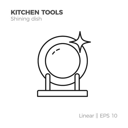 Shining clean empty dish vector linear icon. Flat style illustration of kitchen tools. Isolated on white.