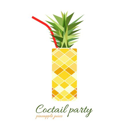 Vector illustration of fresh pineapple cocktail. Stylized fruit as a glass. Isolated on white background. Illusztráció