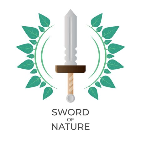 Sword and laurel wreath vector illustration. Logo or icon for game UI or achievement. Isolated on white background.