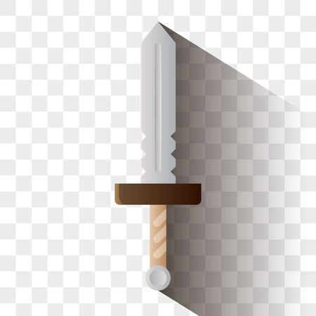 Sword vector illustration. Logo or icon for game UI or achievement. Isolated on white background.