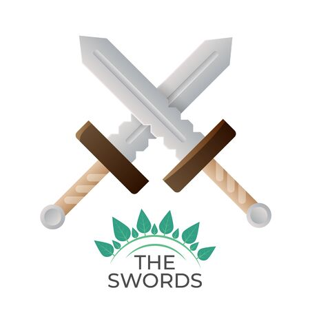 Crossed swords vector logo illustration. Simple and stylish, isolated on white. Suitable for game UI, as achievement, as a logo for security business.