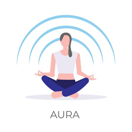 Vector illustration of a girl rebalancing her mental aura in a relaxing lotus yoga pose. Isolated on white background. Ilustrace