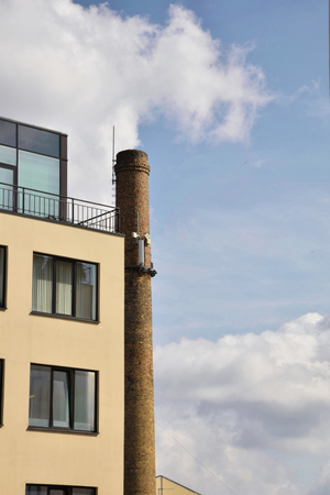 old factory: New House & Old Factory Chimney