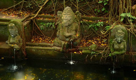 quietness: Old stone fountain in Ubud, Bali Stock Photo