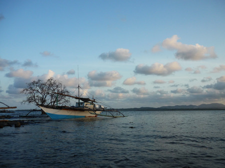 palawan: Old fisherboat at Puerto Princesa. Palawan Stock Photo