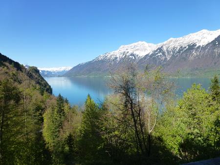 Mountain lake during the snowmelt Stock Photo