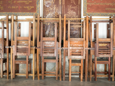 woodcraft: stacks of chair and tables