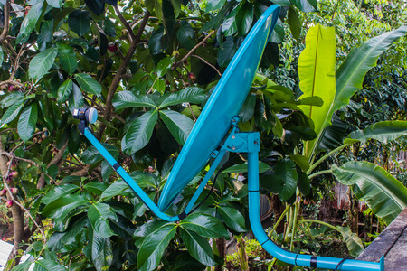 impart: blue satellite in garden and home