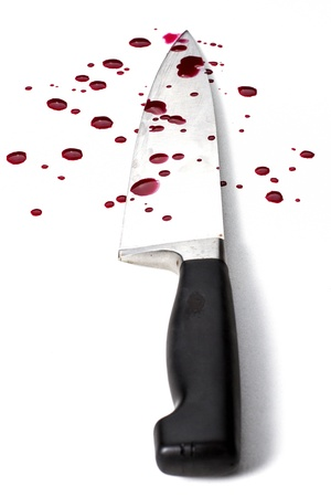 knife on white background with blood Stock Photo - 17738937