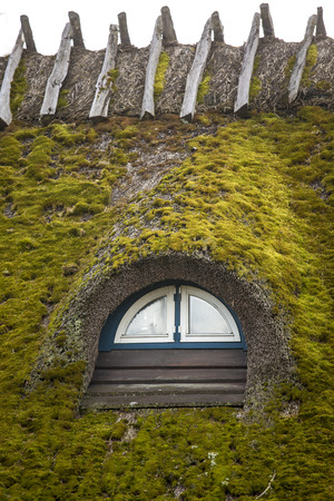 thatched roof: a thatched roof covered in moss Stock Photo