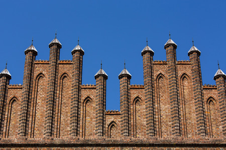 spires: cathedral spires against blue sky Stock Photo