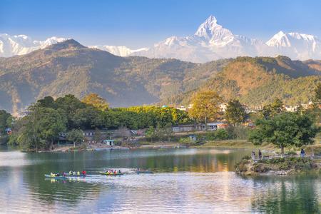 pokhara: Pokhara lake and and Annapurna in Nepal Stock Photo