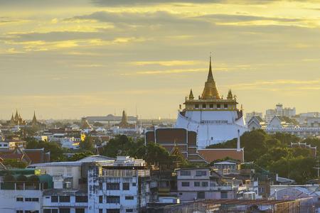red mountain: Golden mount sunset, bangkok thailand